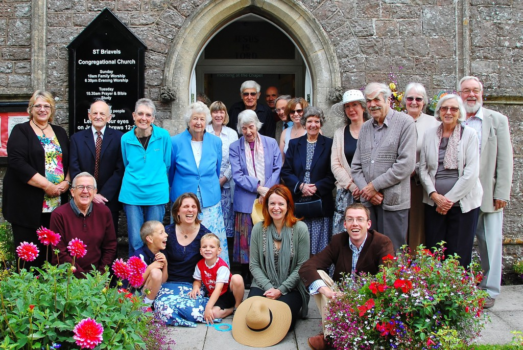 The congregation outside the chapel.